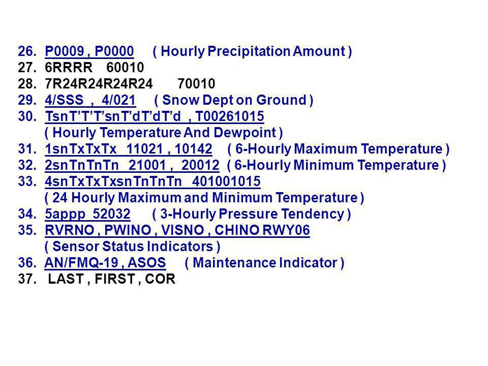 26. P0009, P0000 ( Hourly Precipitation Amount ) 27.