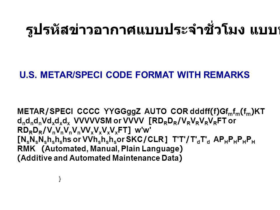 METAR/SPECI CCCC YYGGggZ AUTO COR dddff(f)Gf m f m (f m )KT d n d n d n Vd x d x d x VVVVVSM or VVVV [RD R D R /V R V R V R V R FT or RD R D R /V n V n V n V n VV x V x V x V x FT] w w [N s N s N s h s h s hs or VVh s h s h s or SKC/CLR ] T T /T d T d AP H P H P H P H RMK (Automated, Manual, Plain Language) (Additive and Automated Maintenance Data) U.S.