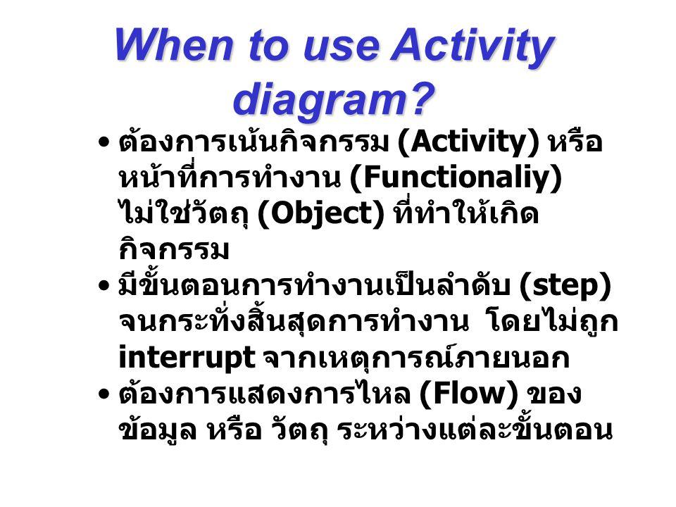 ต้องการเน้นกิจกรรม (Activity) หรือ หน้าที่การทำงาน (Functionaliy) ไม่ใช่วัตถุ (Object) ที่ทำให้เกิด กิจกรรม มีขั้นตอนการทำงานเป็นลำดับ (step) จนกระทั่