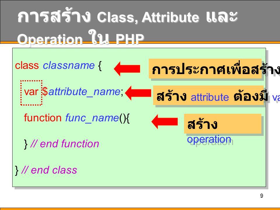 10 ตัวอย่าง class student { var $student_id; function show_student_id(){ } // end function } // end class class student { var $student_id; function show_student_id(){ } // end function } // end class การประกาศเพื่อสร้าง class สร้าง attribute ต้องมี var สร้าง operation