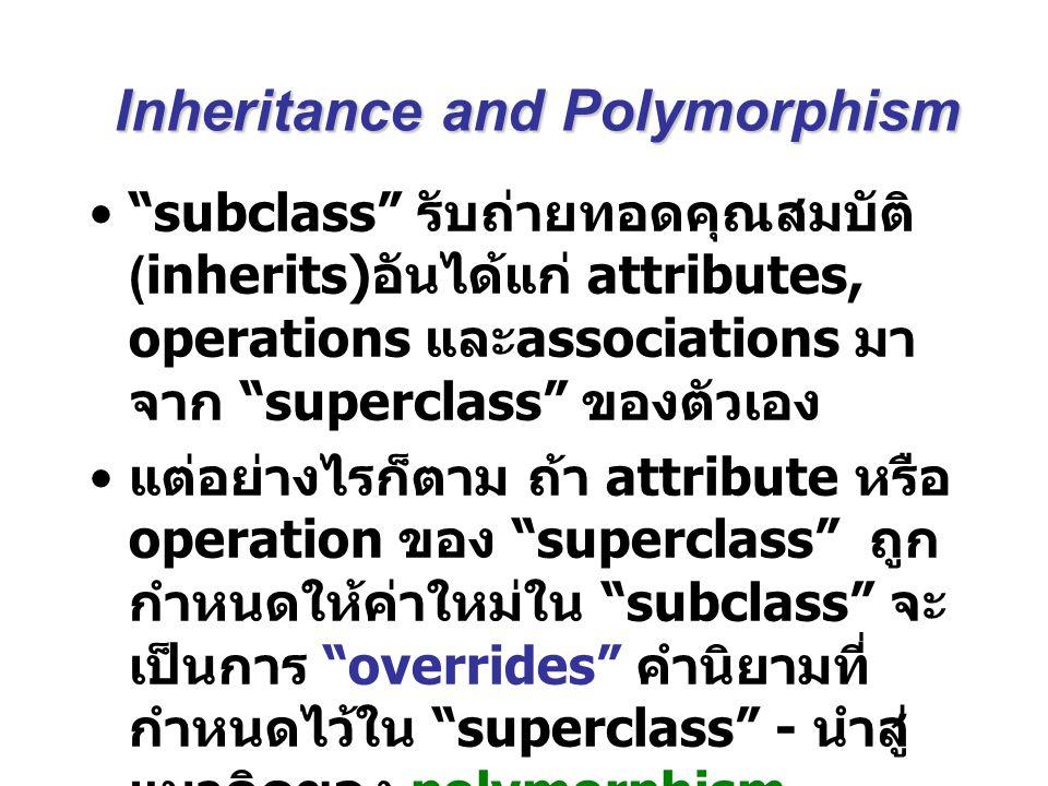 Superclasses and Subclasses Superclass มีคำนิยาม attributes, operations และ associations ร่วมกันกับ subclasses ของคลาสนั้นๆ Subclasses มี attributes, operations และ associations เฉพาะเป็นของตัวเอง โดยเลือกที่จะ กำหนดนิยามใหม่ให้กับ attribute, operation หรือ relationship ที่ รับมาจาก superclass หรือไม่ก็ ได้