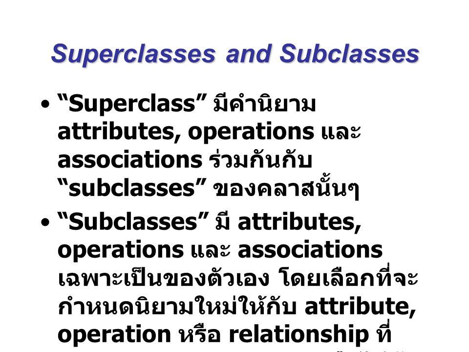 "Superclasses and Subclasses ""Superclass"" มีคำนิยาม attributes, operations และ associations ร่วมกันกับ ""subclasses"" ของคลาสนั้นๆ ""Subclasses"" มี attrib"