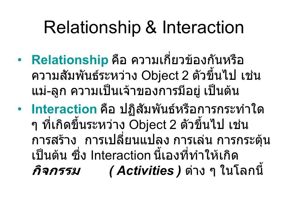 Relationship & Interaction Relationship คือ ความเกี่ยวข้องกันหรือ ความสัมพันธ์ระหว่าง Object 2 ตัวขึ้นไป เช่น แม่ - ลูก ความเป็นเจ้าของการมีอยู่ เป็นต