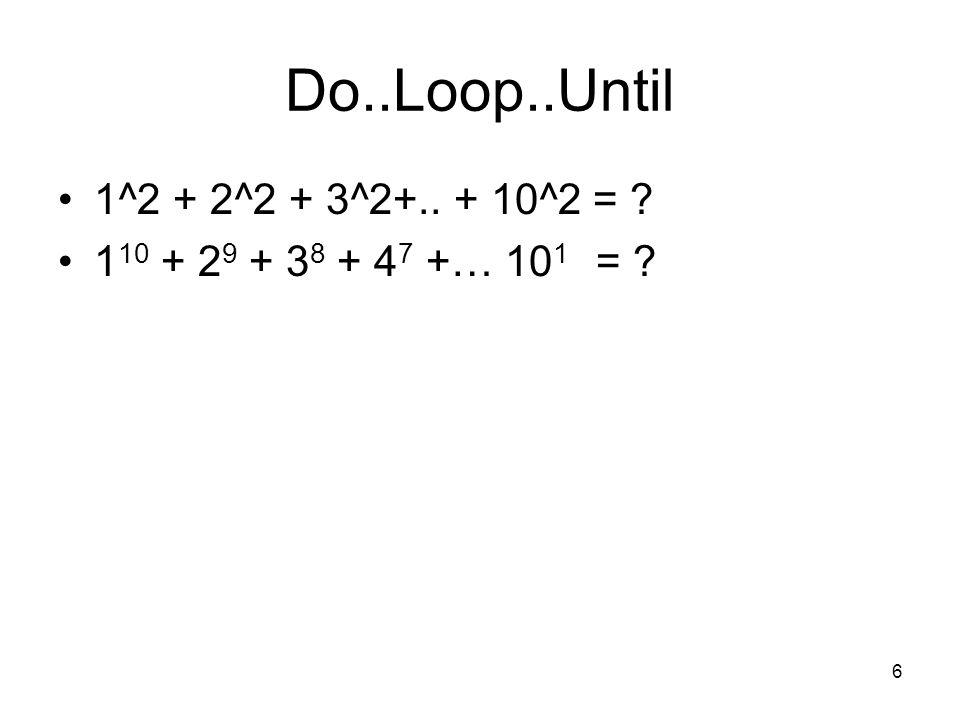 7 1^2 + 2^2 + 3^2+..+ 10^2 = .