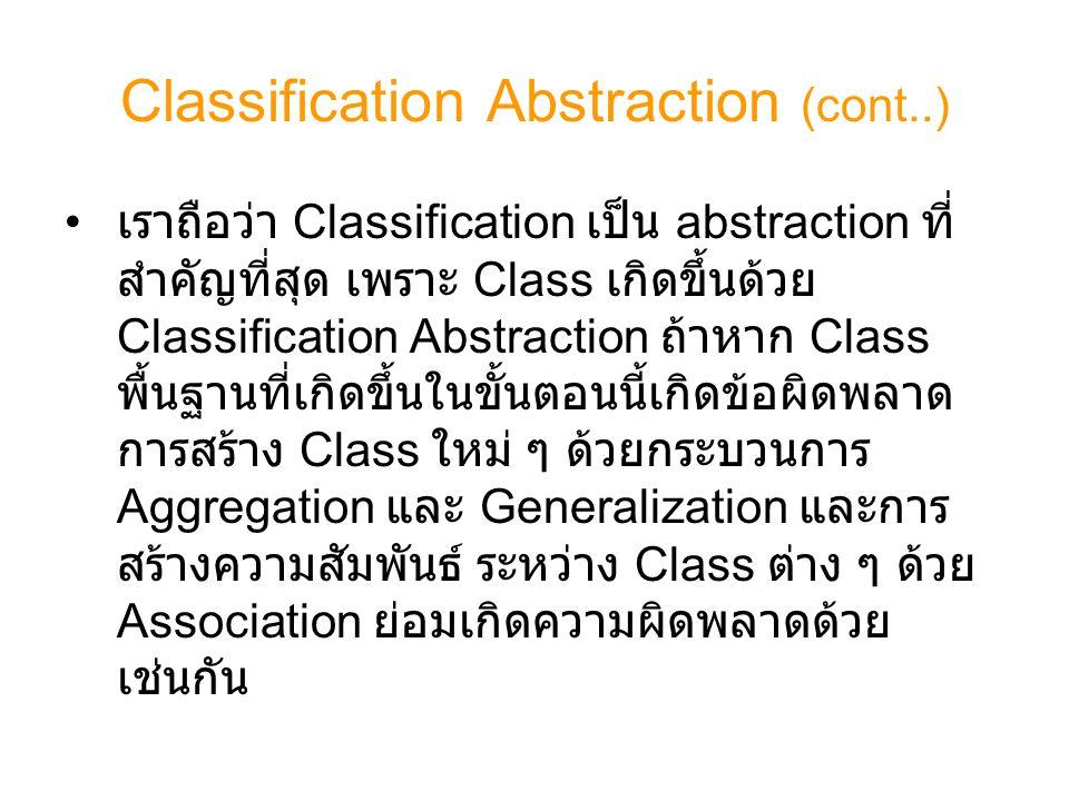 Classification Abstraction (cont..) เราถือว่า Classification เป็น abstraction ที่ สำคัญที่สุด เพราะ Class เกิดขึ้นด้วย Classification Abstraction ถ้าห