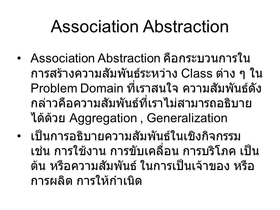 Association Abstraction Association Abstraction คือกระบวนการใน การสร้างความสัมพันธ์ระหว่าง Class ต่าง ๆ ใน Problem Domain ที่เราสนใจ ความสัมพันธ์ดัง ก