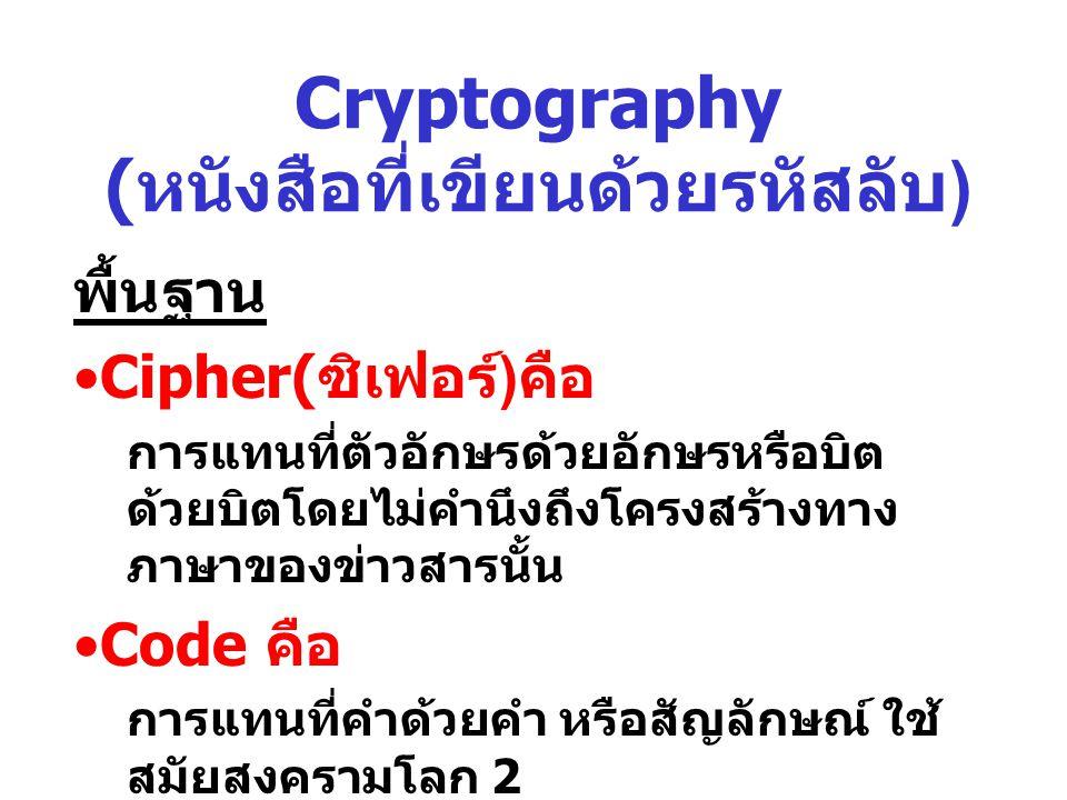 Intro Cryptography ( แนะนำหนังสือที่เขียนด้วย รหัสลับ ) ในอดีตมีบุคคลที่เขียนหนังสือด้วยรหัสลับ คือ ทหาร ปริมาณข่าวสารนำมากเข้ารหัสมีจำนวน มากทำให้การเข้ารหัสไม่สามารถทำเพียงผู้ เชียวชาญเพียงจำนวนเดียว เปลี่ยนแปลงการเข้ารหัสจากแบบหนึ่งไป อีกแบบหนึ่งรวดเร็วเนืองจากเจ้าหน้าที่ สื่อสารมักถูกข้าศึกจับได้