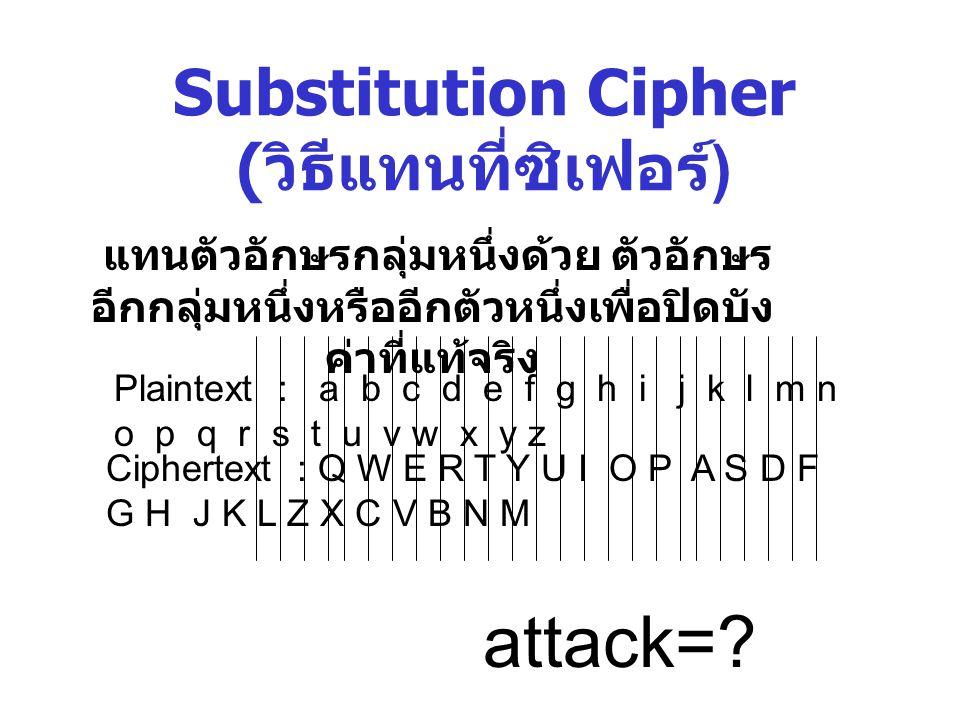 Substitution Cipher ( วิธีแทนที่ซิเฟอร์ ) แทนตัวอักษรกลุ่มหนึ่งด้วย ตัวอักษร อีกกลุ่มหนึ่งหรืออีกตัวหนึ่งเพื่อปิดบัง ค่าที่แท้จริง Plaintext : a b c d