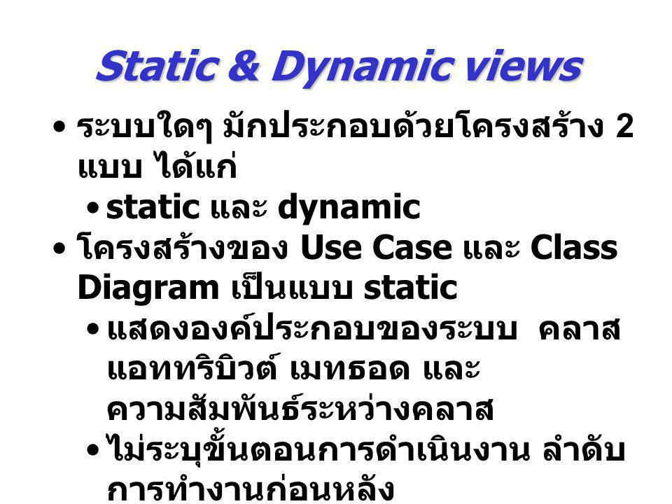 Static & Dynamic views ระบบใดๆ มักประกอบด้วยโครงสร้าง 2 แบบ ได้แก่ static และ dynamic โครงสร้างของ Use Case และ Class Diagram เป็นแบบ static แสดงองค์ป