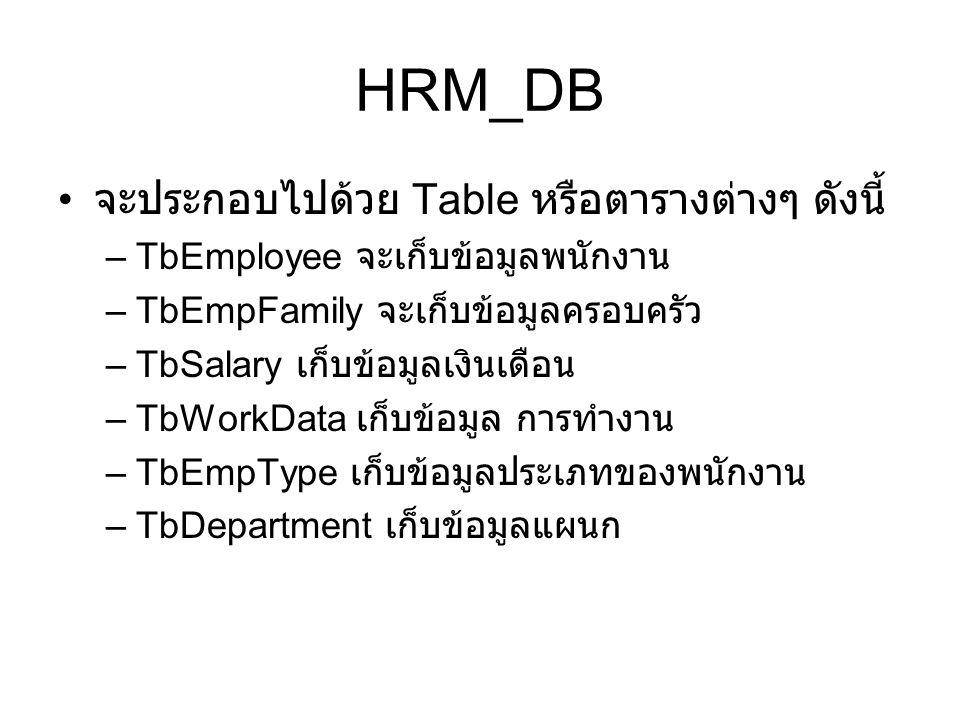 HRM_DB จะประกอบไปด้วย Table หรือตารางต่างๆ ดังนี้ –TbEmployee จะเก็บข้อมูลพนักงาน –TbEmpFamily จะเก็บข้อมูลครอบครัว –TbSalary เก็บข้อมูลเงินเดือน –TbW