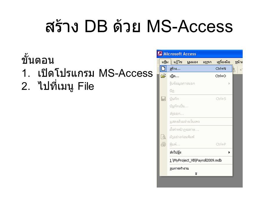 สร้าง DB ด้วย MS-Access ขั้นตอน 1. เปิดโปรแกรม MS-Access 2. ไปที่เมนู File