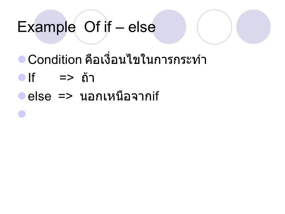 Example Of if – else Condition คือเงื่อนไขในการกระทำ If => ถ้า else => นอกเหนือจาก if