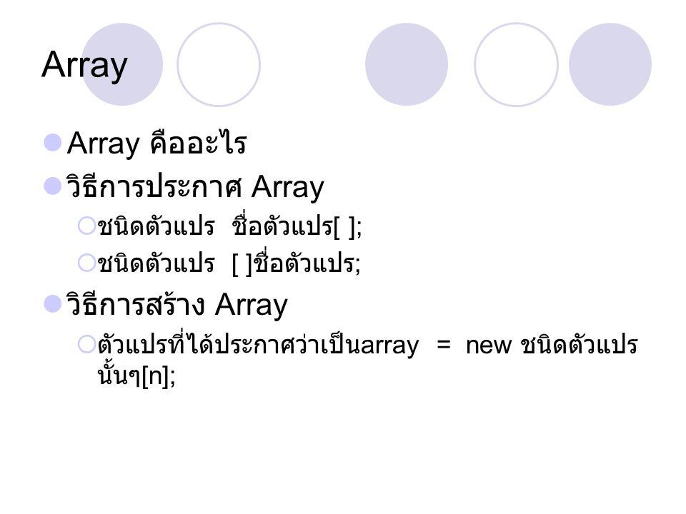 Array Array คืออะไร วิธีการประกาศ Array  ชนิดตัวแปร ชื่อตัวแปร [ ];  ชนิดตัวแปร [ ] ชื่อตัวแปร ; วิธีการสร้าง Array  ตัวแปรที่ได้ประกาศว่าเป็น arra