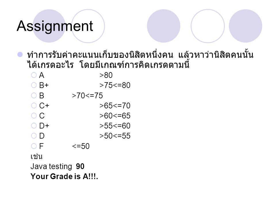 Assignment ทำการรับค่าคะแนนเก็บของนิสิตหนึ่งคน แล้วหาว่านิสิตคนนั้น ได้เกรดอะไร โดยมีเกณฑ์การคิดเกรดตามนี้  A >80  B+>75<=80  B>70<=75  C+>65<=70