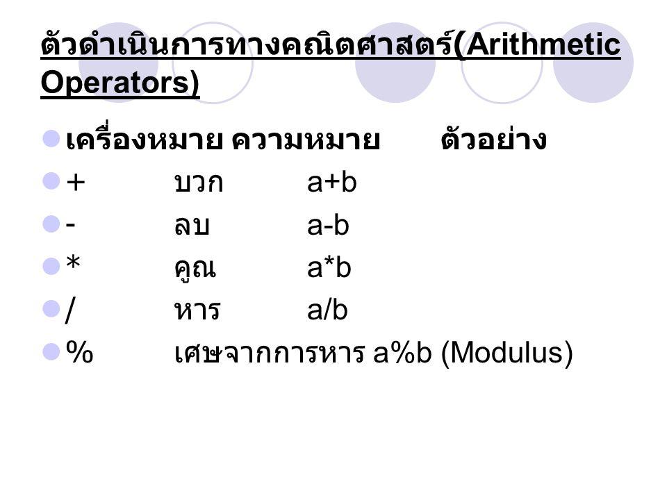 Example Of Arithmetic Operators public class testing // ไฟล์ชื่อ testing.java { public static void main() { int a=5,b=2,c=6; a=a+b; b=a-c; b=b*2; a=a/2; c=a%b; System.out.println( a= +a+ ,b= +b+ ,c= +c); }