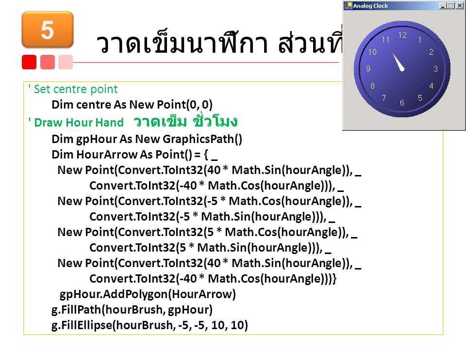 วาดเข็มนาฬิกา ส่วนที่ 2 Set centre point Dim centre As New Point(0, 0) Draw Hour Hand วาดเข็ม ชั่วโมง Dim gpHour As New GraphicsPath() Dim HourArrow As Point() = { _ New Point(Convert.ToInt32(40 * Math.Sin(hourAngle)), _ Convert.ToInt32(-40 * Math.Cos(hourAngle))), _ New Point(Convert.ToInt32(-5 * Math.Cos(hourAngle)), _ Convert.ToInt32(-5 * Math.Sin(hourAngle))), _ New Point(Convert.ToInt32(5 * Math.Cos(hourAngle)), _ Convert.ToInt32(5 * Math.Sin(hourAngle))), _ New Point(Convert.ToInt32(40 * Math.Sin(hourAngle)), _ Convert.ToInt32(-40 * Math.Cos(hourAngle)))} gpHour.AddPolygon(HourArrow) g.FillPath(hourBrush, gpHour) g.FillEllipse(hourBrush, -5, -5, 10, 10) 5 5