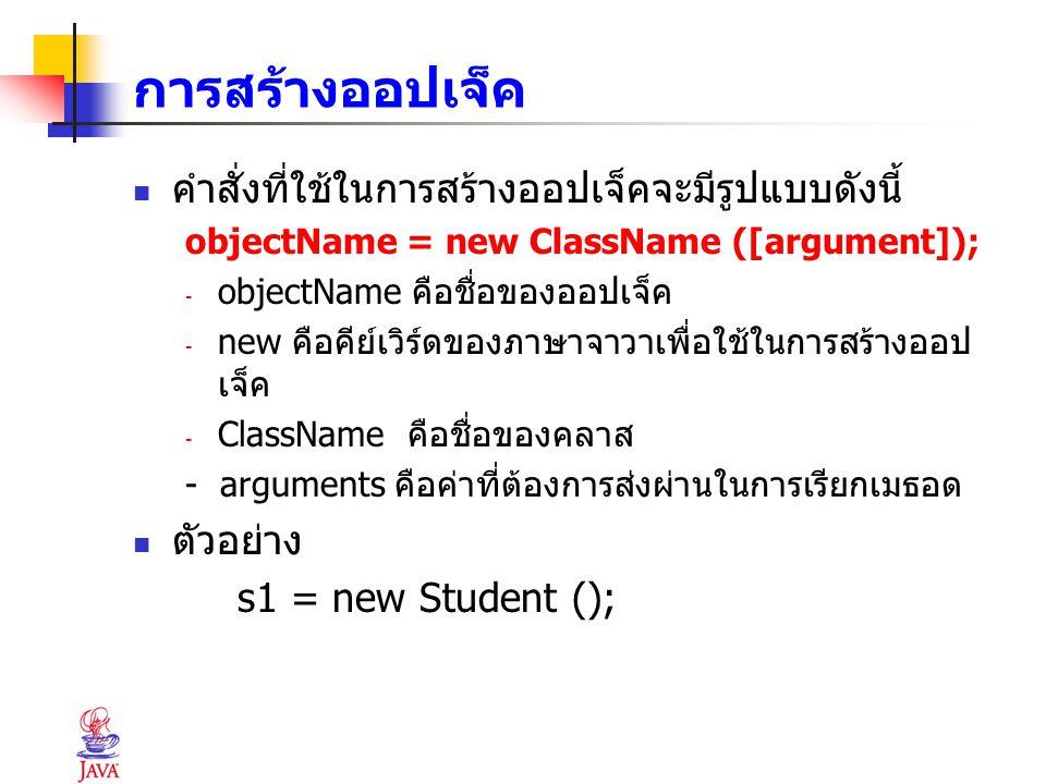 การสร้างออปเจ็ค คำสั่งที่ใช้ในการสร้างออปเจ็คจะมีรูปแบบดังนี้ objectName = new ClassName ([argument]); - objectName คือชื่อของออปเจ็ค - new คือคีย์เวิ