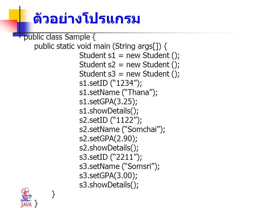 ตัวอย่างโปรแกรม public class Sample { public static void main (String args[]) { Student s1 = new Student (); Student s2 = new Student (); Student s3 =