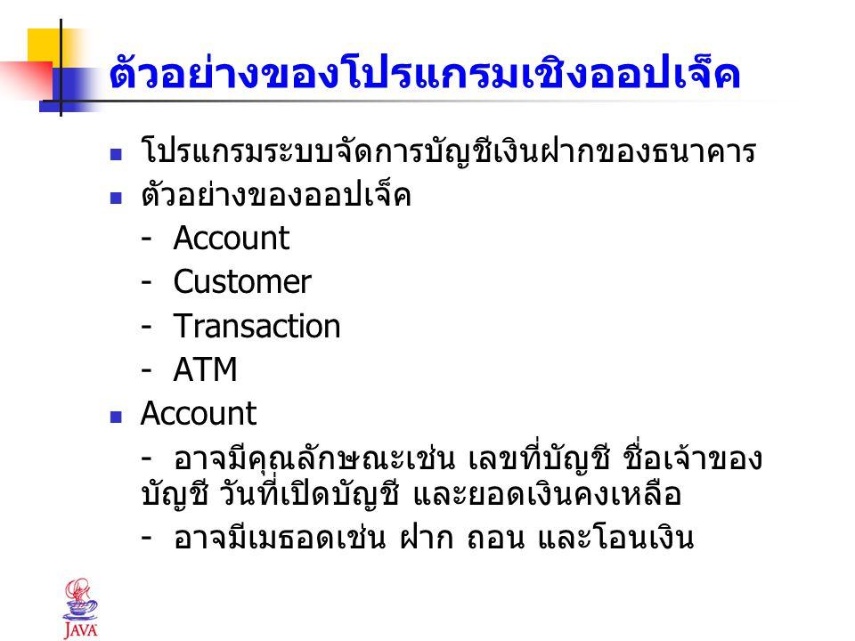 ตัวอย่างของโปรแกรมเชิงออปเจ็ค โปรแกรมระบบจัดการบัญชีเงินฝากของธนาคาร ตัวอย่างของออปเจ็ค - Account - Customer - Transaction - ATM Account - อาจมีคุณลัก