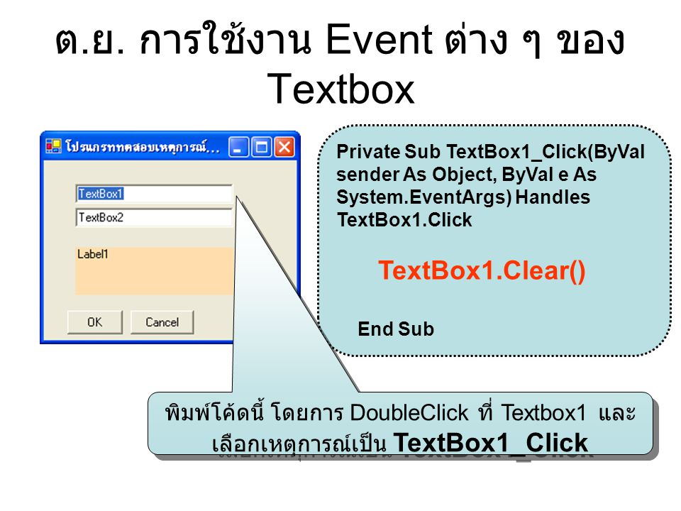 ต. ย. การใช้งาน Event ต่าง ๆ ของ Textbox Private Sub TextBox1_Click(ByVal sender As Object, ByVal e As System.EventArgs) Handles TextBox1.Click TextBo
