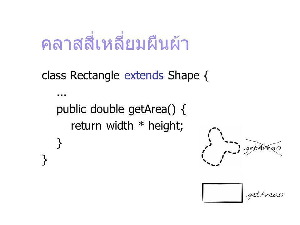 คลาสสี่เหลี่ยมผืนผ้า class Rectangle extends Shape {... public double getArea() { return width * height; }