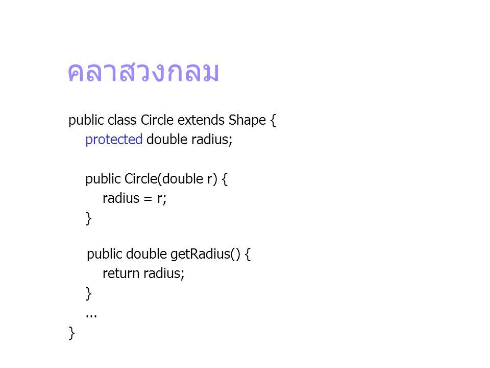 คลาสวงกลม public class Circle extends Shape { protected double radius; public Circle(double r) { radius = r; } public double getRadius() { return radi