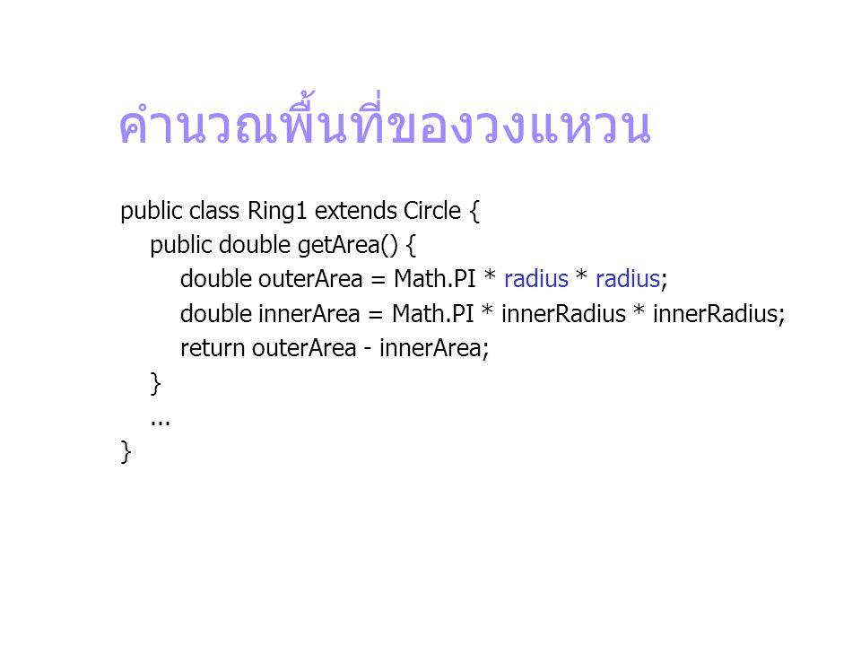 คำนวณพื้นที่ของวงแหวน public class Ring1 extends Circle { public double getArea() { double outerArea = Math.PI * radius * radius; double innerArea = M