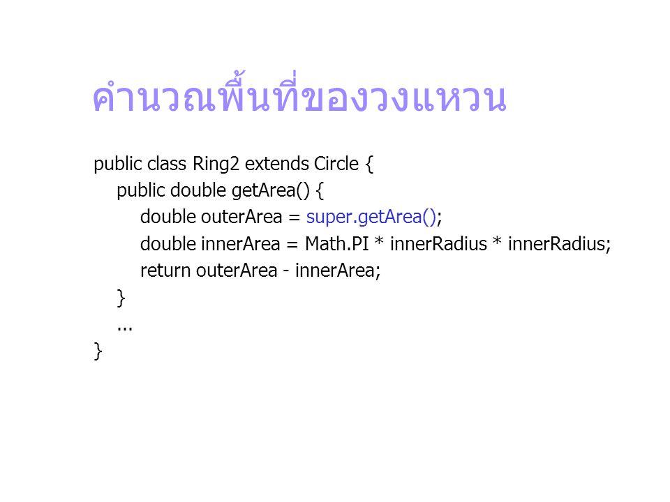 คำนวณพื้นที่ของวงแหวน public class Ring2 extends Circle { public double getArea() { double outerArea = super.getArea(); double innerArea = Math.PI * i