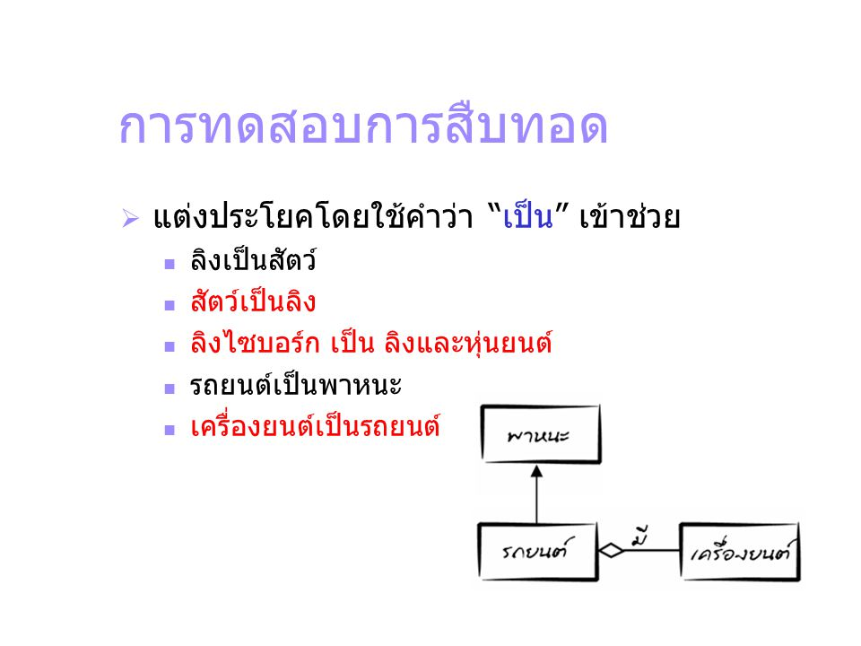 การนำมาใช้อีก public class ShapeArray { public static double sumArea(Shape[] shapes) { double sum = 0; for( Shape s : shapes) { sum += s.getArea(); } return sum; }