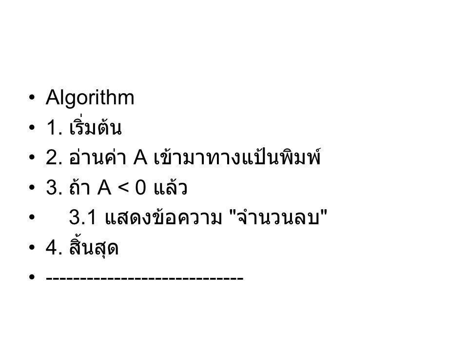 Algorithm 1. เริ่มต้น 2. อ่านค่า A เข้ามาทางแป้นพิมพ์ 3. ถ้า A < 0 แล้ว 3.1 แสดงข้อความ