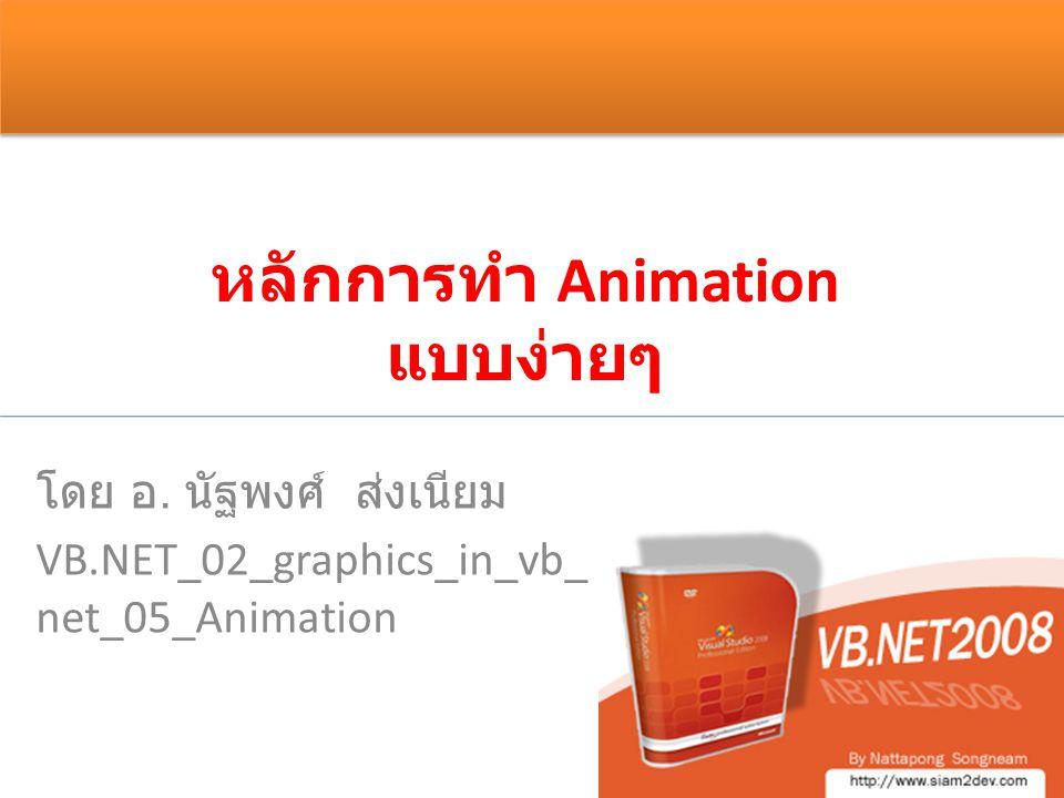 หลักการทำ Animation แบบง่ายๆ โดย อ. นัฐพงศ์ ส่งเนียม VB.NET_02_graphics_in_vb_ net_05_Animation
