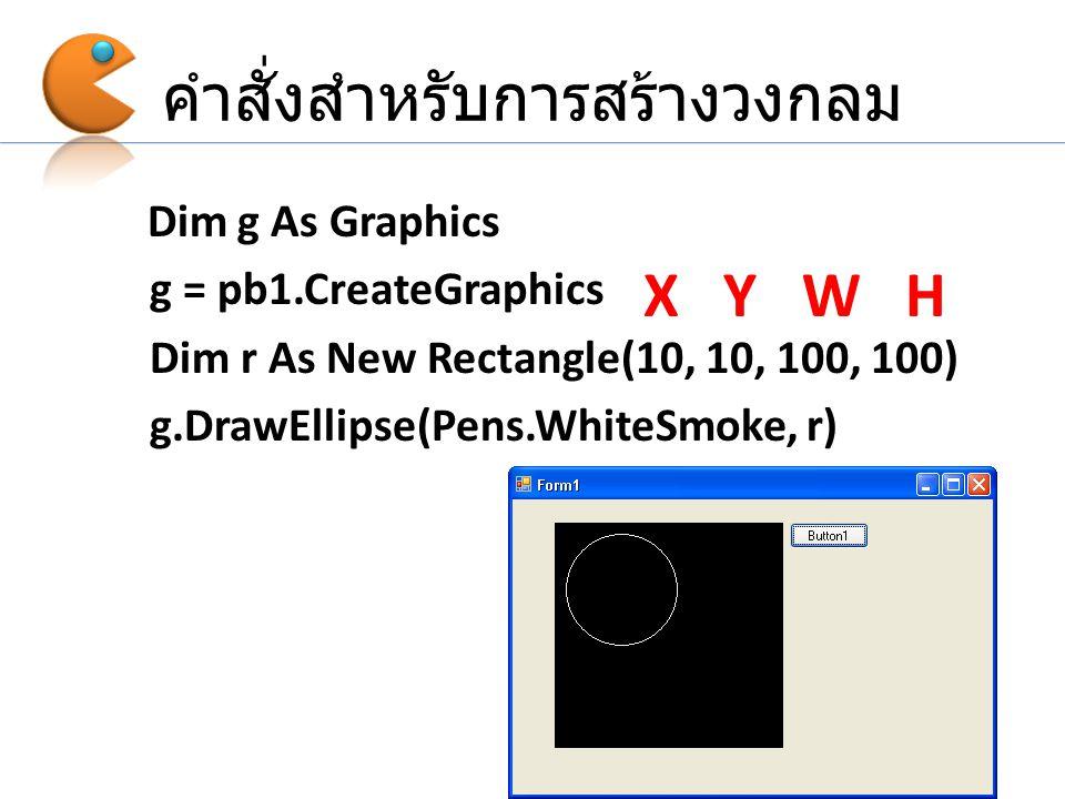 คำสั่งสำหรับการสร้างวงกลม Dim g As Graphics g = pb1.CreateGraphics Dim r As New Rectangle(10, 10, 100, 100) g.DrawEllipse(Pens.WhiteSmoke, r) X Y W H