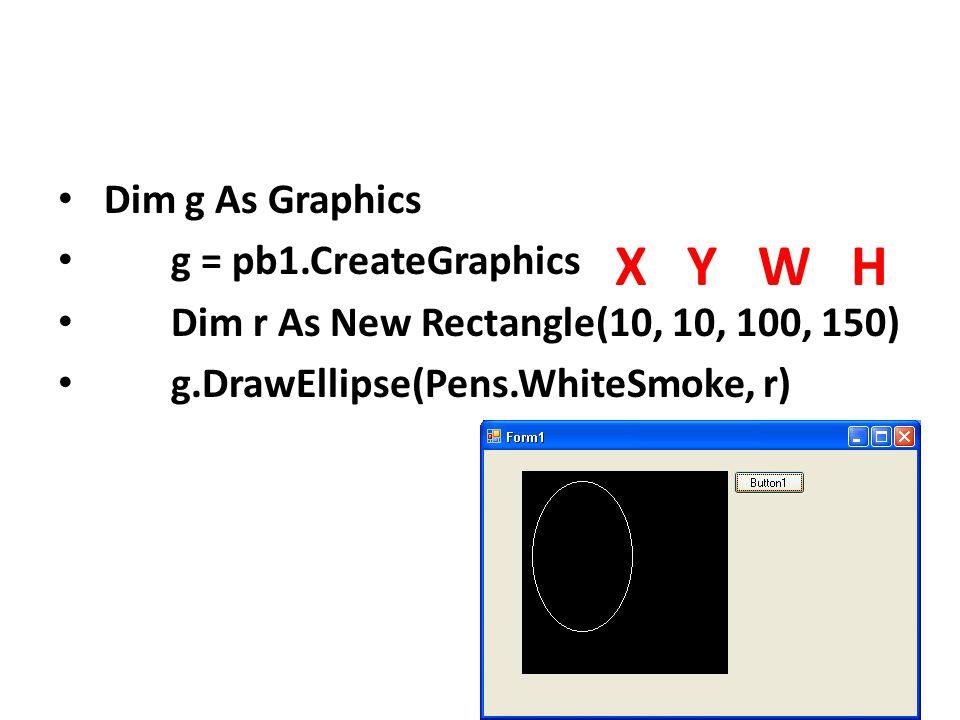 Dim g As Graphics g = pb1.CreateGraphics Dim r As New Rectangle(10, 10, 100, 150) g.DrawEllipse(Pens.WhiteSmoke, r) X Y W H
