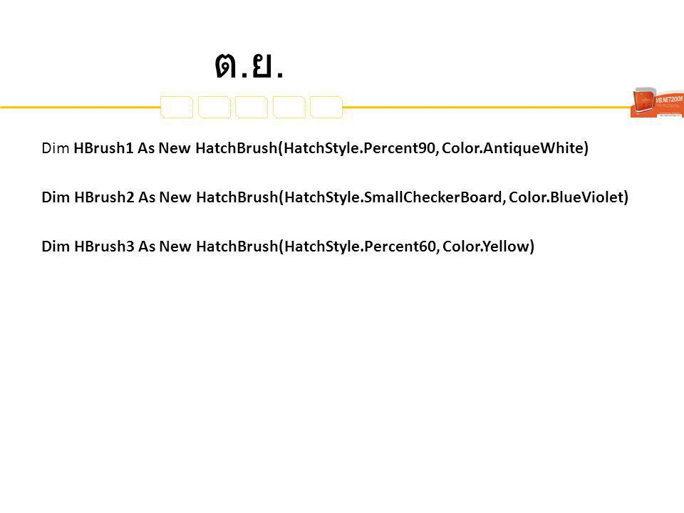 ต.ย.ต.ย. Dim HBrush1 As New HatchBrush(HatchStyle.Percent90, Color.AntiqueWhite) Dim HBrush2 As New HatchBrush(HatchStyle.SmallCheckerBoard, Color.Blu