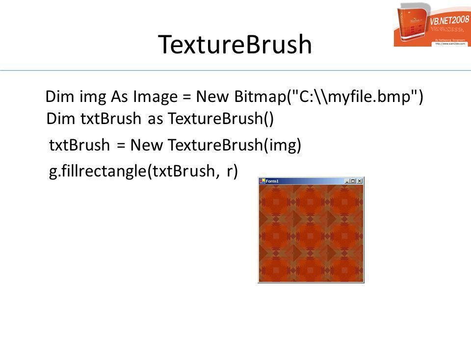 TextureBrush Dim img As Image = New Bitmap(