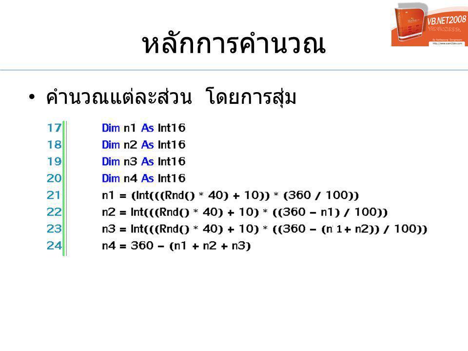 หลักการคำนวณ คำนวณแต่ละส่วน โดยการสุ่ม 1