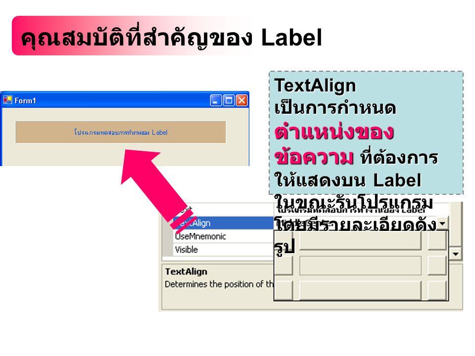 คุณสมบัติที่สำคัญของ Label TextAlign เป็นการกำหนด ตำแหน่งของ ข้อความ ที่ต้องการ ให้แสดงบน Label ในขณะรันโปรแกรม โดยมีรายละเอียดดัง รูป