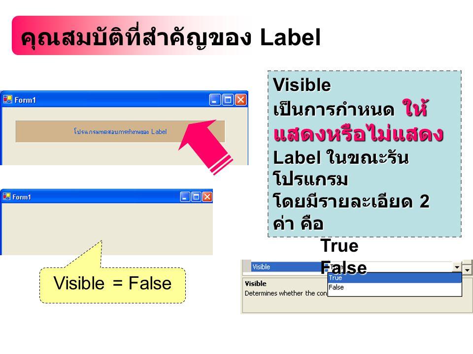 คุณสมบัติที่สำคัญของ Label Visible เป็นการกำหนด ให้ แสดงหรือไม่แสดง Label ในขณะรัน โปรแกรม โดยมีรายละเอียด 2 ค่า คือ TrueFalse Visible = False