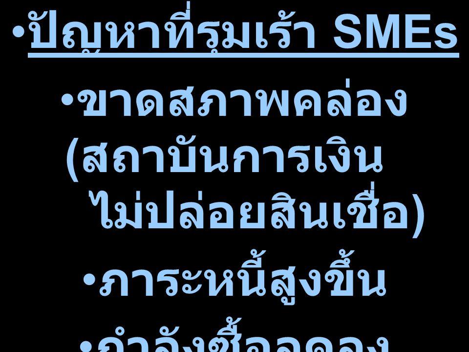ปัญหาที่รุมเร้า SMEs ขาดสภาพคล่อง ( สถาบันการเงิน ไม่ปล่อยสินเชื่อ ) ภาระหนี้สูงขึ้น กำลังซื้อลดลง