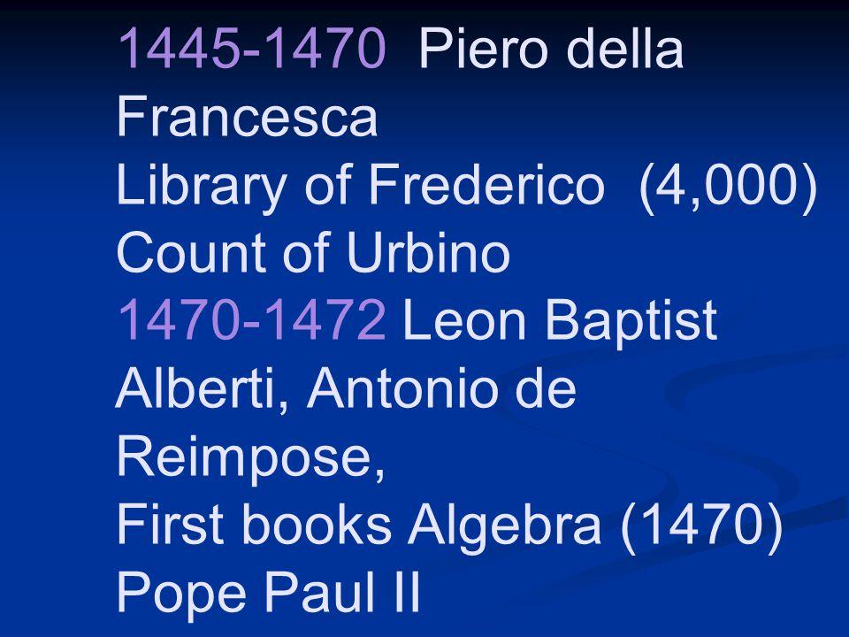 1445-1470 Piero della Francesca Library of Frederico (4,000) Count of Urbino 1470-1472 Leon Baptist Alberti, Antonio de Reimpose, First books Algebra