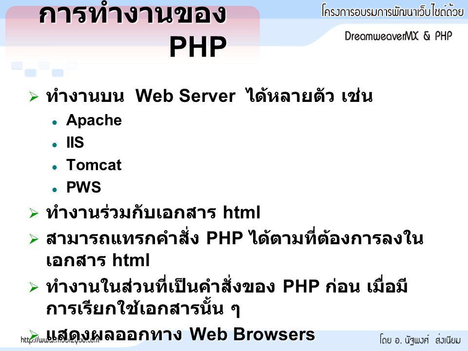 การทำงานของ PHP  ทำงานบน Web Server ได้หลายตัว เช่น Apache Apache IIS IIS Tomcat Tomcat PWS PWS  ทำงานร่วมกับเอกสาร html  สามารถแทรกคำสั่ง PHP ได้ตามที่ต้องการลงใน เอกสาร html  ทำงานในส่วนที่เป็นคำสั่งของ PHP ก่อน เมื่อมี การเรียกใช้เอกสารนั้น ๆ  แสดงผลออกทาง Web Browsers