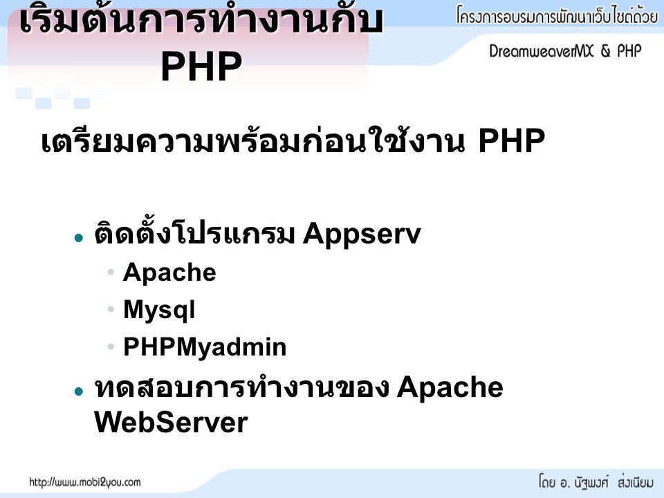 เริ่มต้นการทำงานกับ PHP เตรียมความพร้อมก่อนใช้งาน PHP ติดตั้งโปรแกรม Appserv ติดตั้งโปรแกรม Appserv ApacheApache MysqlMysql PHPMyadminPHPMyadmin ทดสอบการทำงานของ Apache WebServer ทดสอบการทำงานของ Apache WebServer