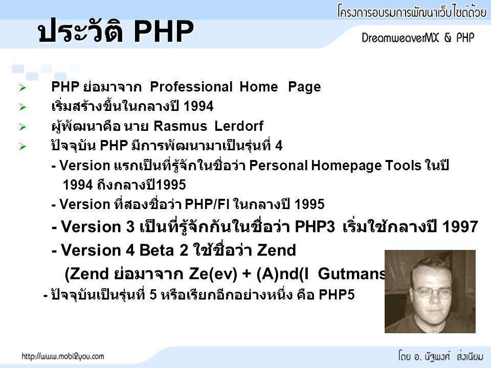 ประวัติ PHP   PHP ย่อมาจาก Professional Home Page   เริ่มสร้างขึ้นในกลางปี 1994   ผู้พัฒนาคือ นาย Rasmus Lerdorf   ปัจจุบัน PHP มีการพัฒนามาเป็นรุ่นที่ 4 - Version แรกเป็นที่รู้จักในชื่อว่า Personal Homepage Tools ในปี 1994 ถึงกลางปี 1995 - Version ที่สองชื่อว่า PHP/FI ในกลางปี 1995 - Version 3 เป็นที่รู้จักกันในชื่อว่า PHP3 เริ่มใช้กลางปี 1997 - Version 4 Beta 2 ใช้ชื่อว่า Zend (Zend ย่อมาจาก Ze(ev) + (A)nd(I Gutmans) - ปัจจุบันเป็นรุ่นที่ 5 หรือเรียกอีกอย่างหนึ่ง คือ PHP5