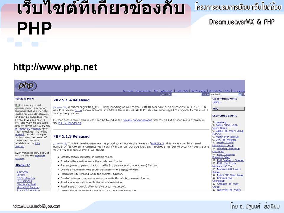เว็บไซต์ที่เกี่ยวข้องกับ PHP http://www.php.net