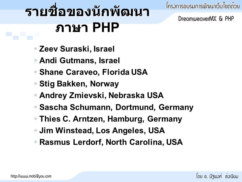 รายชื่อของนักพัฒนา ภาษา PHP  Zeev Suraski, Israel  Andi Gutmans, Israel  Shane Caraveo, Florida USA  Stig Bakken, Norway  Andrey Zmievski, Nebraska USA  Sascha Schumann, Dortmund, Germany  Thies C.