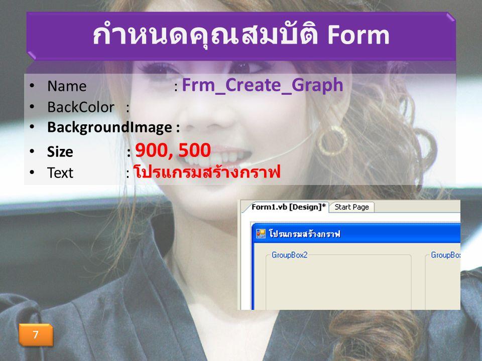 สร้าง Label ในแกน X และแกน Y --- สร้างคำอธิบายแกน X Dim f As Font f = New Font( ms-sans serif , 10, FontStyle.Bold) G.DrawString( 0,0 , f, Brushes.BlueViolet, 45, PbGraph.Height - 40) --- สร้าง Label G.DrawString( แกน Y , f, Brushes.BlueViolet, 40, 20) G.DrawString( แกน X , f, Brushes.BlueViolet, PbGraph.Width - 45, PbGraph.Height - 55)