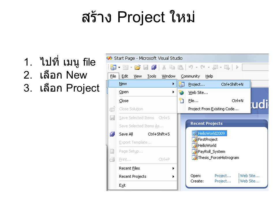 สร้าง Project ใหม่ 1. ไปที่ เมนู file 2. เลือก New 3. เลือก Project