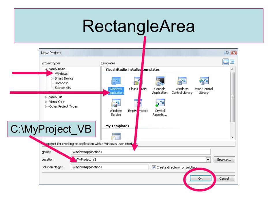 กำหนดคุณสมบัติของ form Name : FrmRectangleArea BackColor :: เลือกสีตามต้องการ Text : โปรแกรมคำนวณค่า พ.