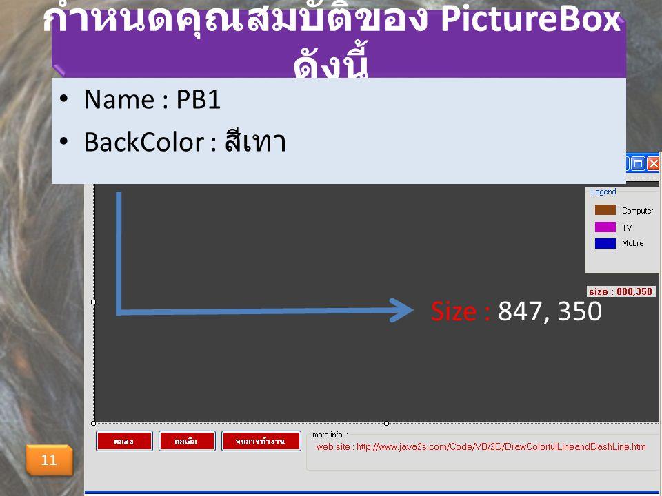 กำหนดคุณสมบัติของ PictureBox ดังนี้ Name : PB1 BackColor : สีเทา 11 Size : 847, 350
