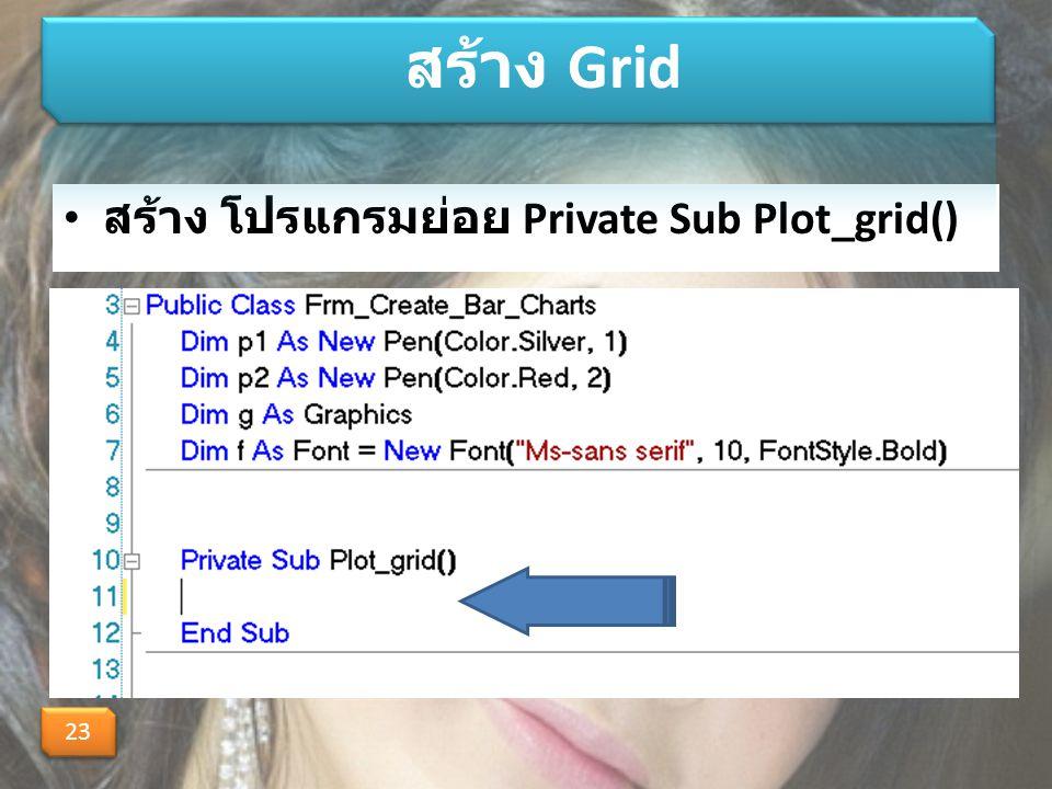 สร้าง โปรแกรมย่อย Private Sub Plot_grid() สร้าง Grid 23